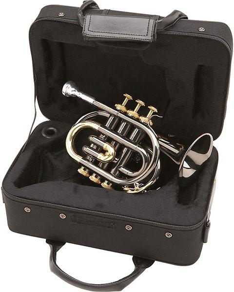 Allora MXPT-5801-BK Black Nickel Series Pocket Trumpet Black Nickel Case