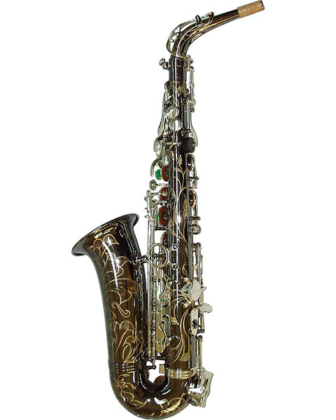 Allora Paris Series Professional Alto Saxophone AAAS-805 - Black Nickel Body - Silver Plated Keys Back