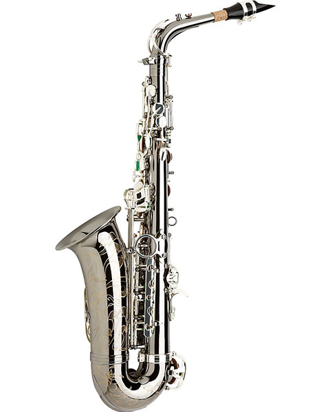 Allora Paris Series Professional Alto Saxophone AAAS-805 - Black Nickel Body - Silver Plated Keys Side