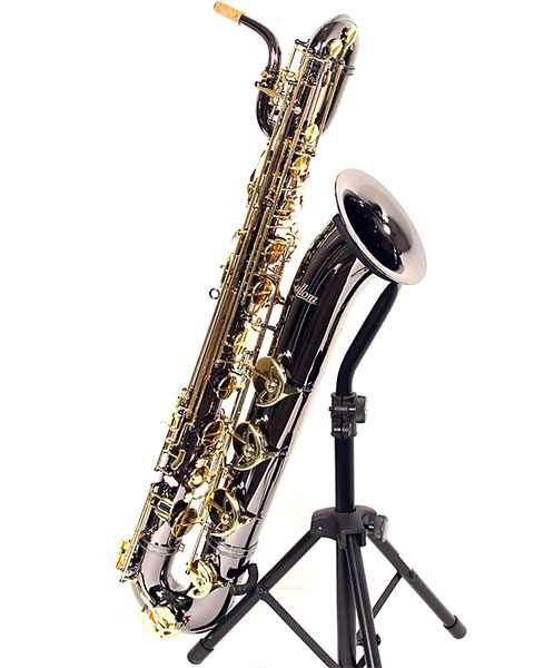 Allora Paris Series Professional Black Nickel Baritone Saxophone AABS-955 - Black Nickel Body - Brass Lacquer Keys