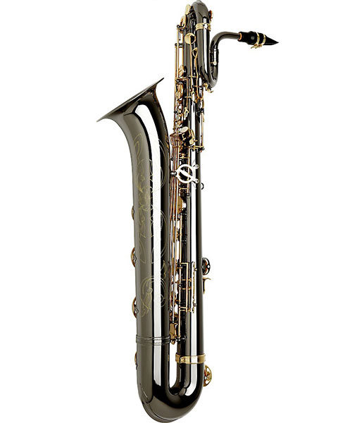 Allora Paris Series Professional Black Nickel Baritone Saxophone AABS-955 - Black Nickel Body - Brass Lacquer Keys Side