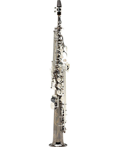 Allora Paris Series Professional Straight Soprano Saxophone with 2 Necks AASS-805 - Black Nickel Body - Silver Plated Keys