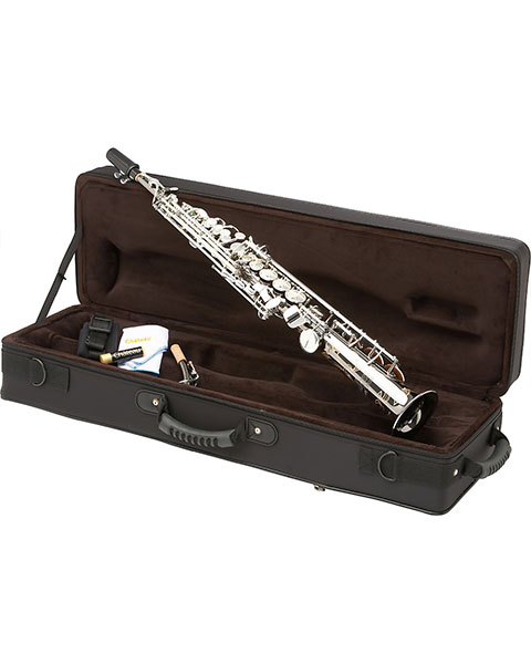 Allora Paris Series Professional Straight Soprano Saxophone with 2 Necks AASS-805 - Black Nickel Body - Silver Plated Keys Case
