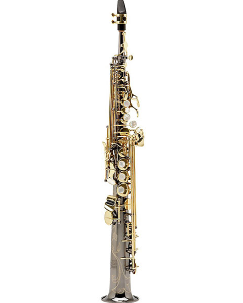 Allora Paris Series Professional Straight Soprano Saxophone with 2 Necks AASS-806 - Black Nickel Body - Brass Lacquer Keys