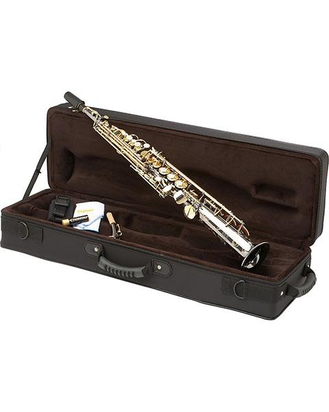 Allora Paris Series Professional Straight Soprano Saxophone with 2 Necks AASS-806 - Black Nickel Body - Brass Lacquer Keys Case