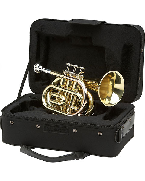 Allora MXPT-5801 Series Pocket Trumpet Rose Brass Case