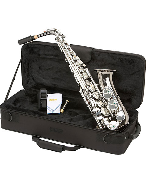 Allora Vienna Series Intermediate Alto Saxophone AAAS-505 - Black Nickel Body - Silver Plated Keys In Case
